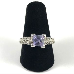 Vintage Silver Pink Amethyst Ring Size 7.5